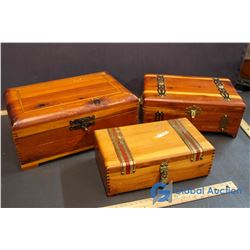 (3) Inlaid Wooden Chests w/ Brass Fittings