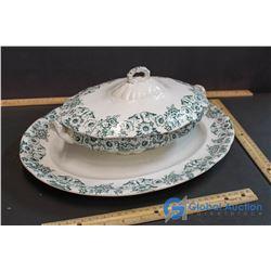 "Dunbar English Covered Vegetable Dish w/ Matching 16"" Platter"