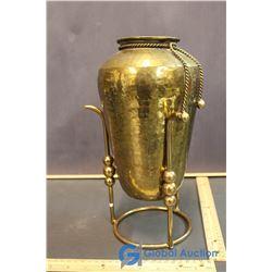 Brass Flower Vase w/ Stand