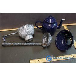 Enamel Ware - Teapot, Ladle