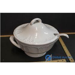 Ceramic Lidded Soup Tureen w/Ladles
