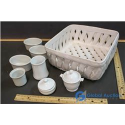 Woven Ceramic White Fruit Bowl & 7 Small Ceremic Serving Pieces