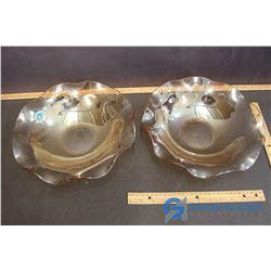 "2-12"" Marigold Embossed Carnival Glass Bowls"