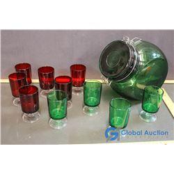 Green Glass Lidded Candy Jar w/ 10 Red