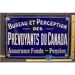 "Porcelain French Language Insurance Sign- 18""X12"" Marsh Bro's Toronto"