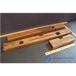 Vintage Wooden and Brass Levels (3)