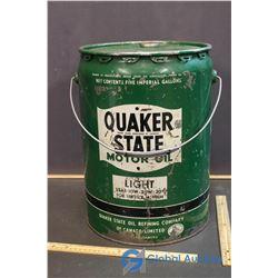 Quaker State Motor Oil Can - 5 Gal