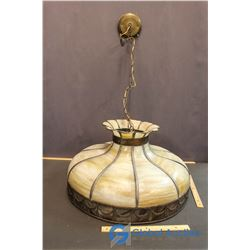 """Approx 1930's Slag Curved Glass Hanging Lamp - 22"""""""