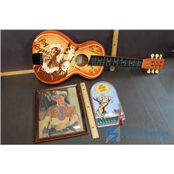 Roy Rogers King of the Cowboys Guitar, Picture in Frame, & Pin Ball Game