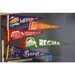 (5) Felt Pennants - Regina, Banff, Mervin, etc.