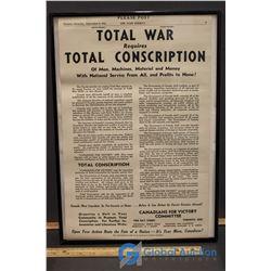 Toronto Sept 5, 1942 Total War - Conscription Recruting Poster