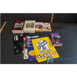 Hockey Related Books and Saskatchewan Amateur Hockey Plack- Hockey Card Price Guides, etc.