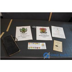 RCMP Belt Buckle and Lepel Pin & Royal Family Related Commemorative Book