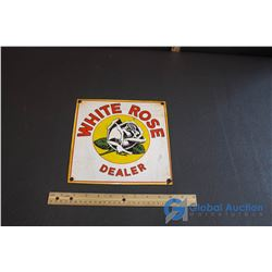 "White Rose Dealer Porcelain Sign - 9""x 9"""