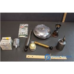 Wind Up Bell (Working), Coleman Funnel Filter, Airway Compas, Oiler, Little Trophy and Other