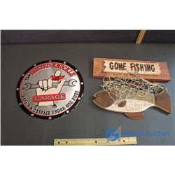 Busted Knuckle Sign, Gone Fishing Sign