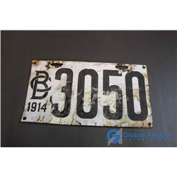 1914 B.C. Porcelain License Plate