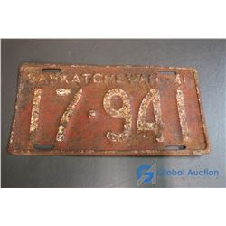 1941 Saskatchewan License Plate