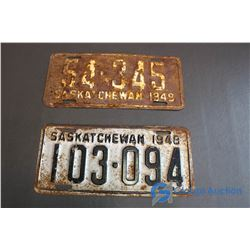 1948-49 Saskatchewan License Plates