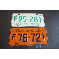 1963, 1968 Saskatchewan License Plates