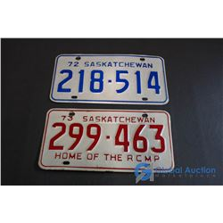 1972, 1973 Saskatchewan License Plates