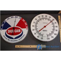 "(2) 12"" Advertising Thermometors - Ohio, Shur Gain"