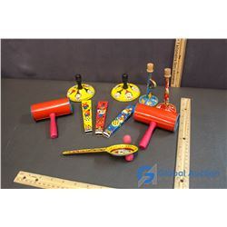 (10) Tin Toy Linthograph Toy Noise Makers