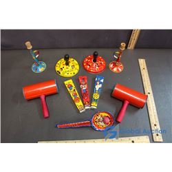 (10) Tin Linthograph Toy Noise Makers