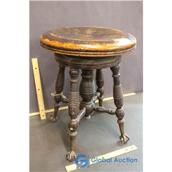 Piano Stool w/ Glass Ball and Claw Feet