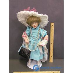 """Grandma's Attic"" Porcelain Doll on Stand"