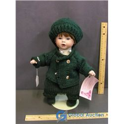 """Michael"" Porcelain Doll on Stand"