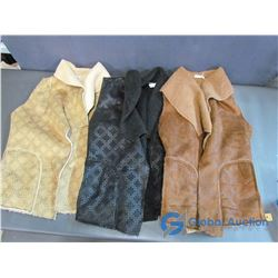 3 Vests - Carmin Brand, 100% Polyester 2 Medium (Black & Beige) Brown is Large
