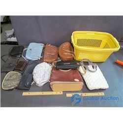 Purses, Clutches, Wallets & Plastic Basket