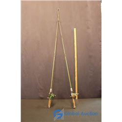 (2) 1950's Fibreglass Fishing Rods & Green Hornet Open Reels