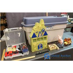 Large Tote W/ Toys - Disney Castle, Tonka Truck, Model Car Kit, Bunny Coin Bank, etc.