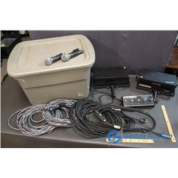 2 Stage Lights, 2 Sure Microphones W/ Clips, XLR Cables and Cables for Lights