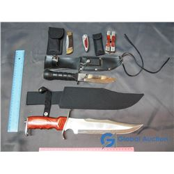 (5) Hunting Knives w/ Sleeves