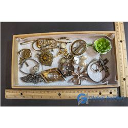 Tray of Assorted Jewelry - Watches; Bracelets; Broaches; Earrings