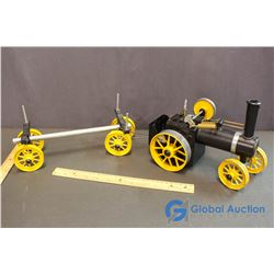 Black & Yellow Steam Engine Tractor & Wagon Toy Model