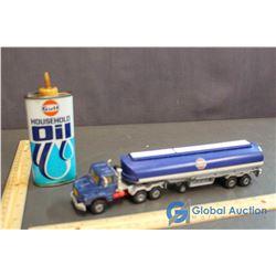Gulf Oil Tanker Truck & House Hold Oiler Can