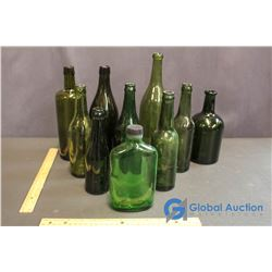 Antque Green Glass Bottle Collection (Some 1800's)