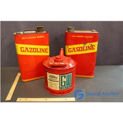 (2) Vintage Metal Gasoline 2 Gallon Can's & New GW Metal Gas Can