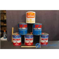 (6) Vintage Metal Antifreeze Cans