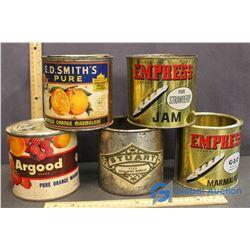 (5) Vintage Jam Cans