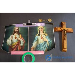 Antique Crucifixes, Double Metals w/Linking Chain, Mary Photo & Jesus Photos