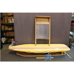 Old Wooden Stencil Laundry Board & Wash Board