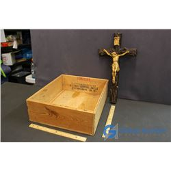 Large Antique Crucifix in Wooden Tomato Box