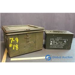 (2) Vintage Metal Ammo Tin's