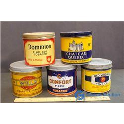 (5) Vintage Tabacco Tins