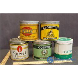 (5) Vintage Metal Tobacco Tins